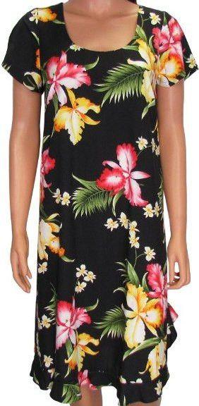 Hawaiian MuuMuu Dress Black