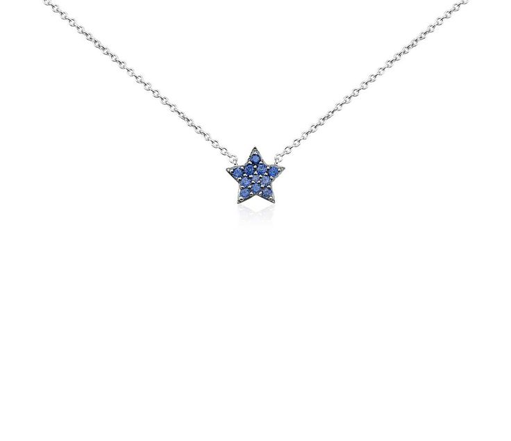 Mini Sapphire Star Pendant in 14k White Gold #BlueNile #MothersDay #jewelry
