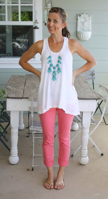 white tank – nations outfitters  coral skinnies – target  necklace – groop dealz  gold flip flops – old navy