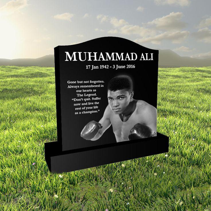 Muhammad Ali laser etched black granite headstone designed by Forever Shining. Design a headstone online - visit our website
