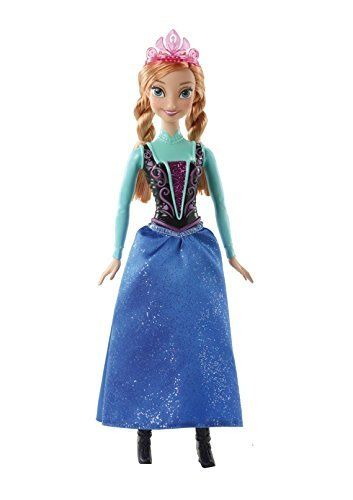 Beloved, heroic younger sister Anna, from Disney's animated hit Frozen, absolutely dazzles in sparkling fashions with signature colors. Wearing a glittery, detailed bodice, satiny calf-length skirt, a