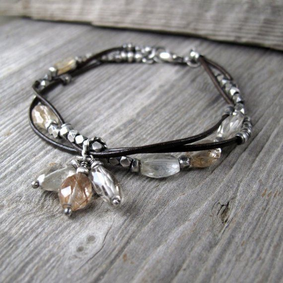 Intertwined Leather and Silver Bracelet with Rutilated Quartz