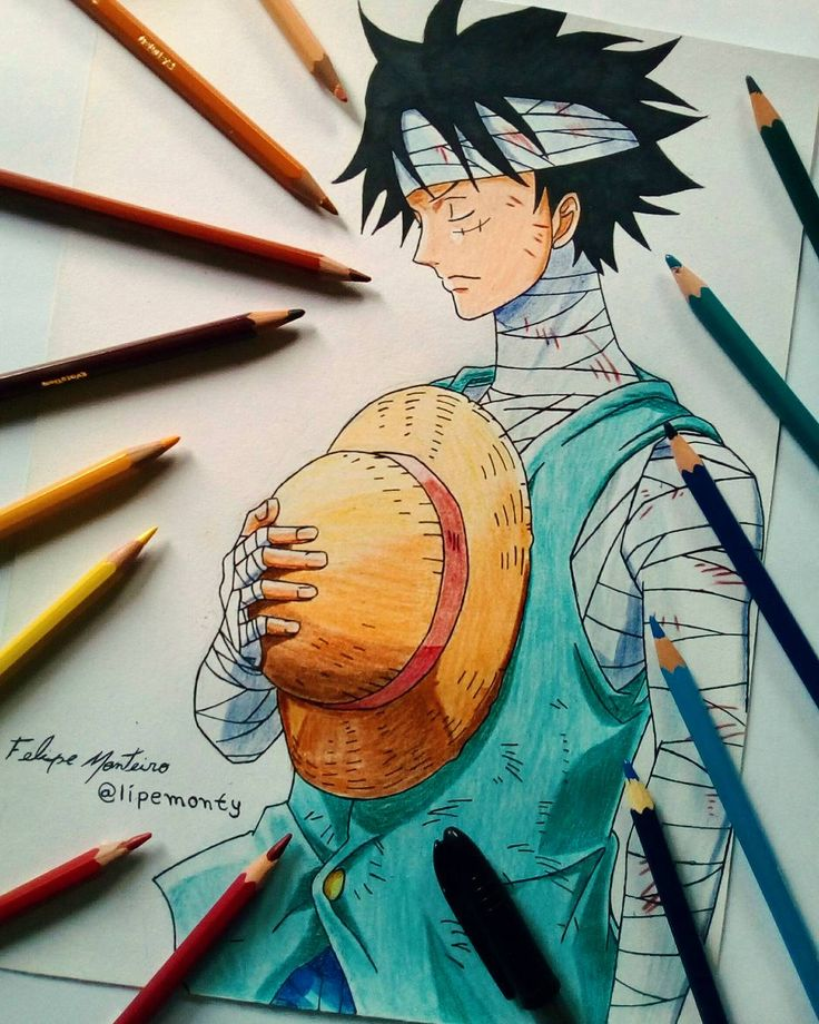 Luffy red hawk with colour pencils for full step by. Anime Drawings One Piece Anime Wallpaper