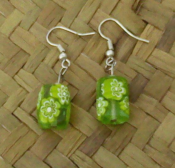 Lime Green millefiori-style flower earrings option by OceanicBeads