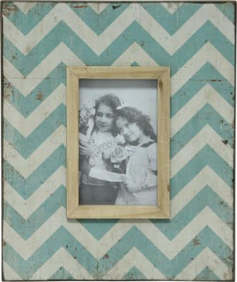 Zag Frame - Turquoise & White