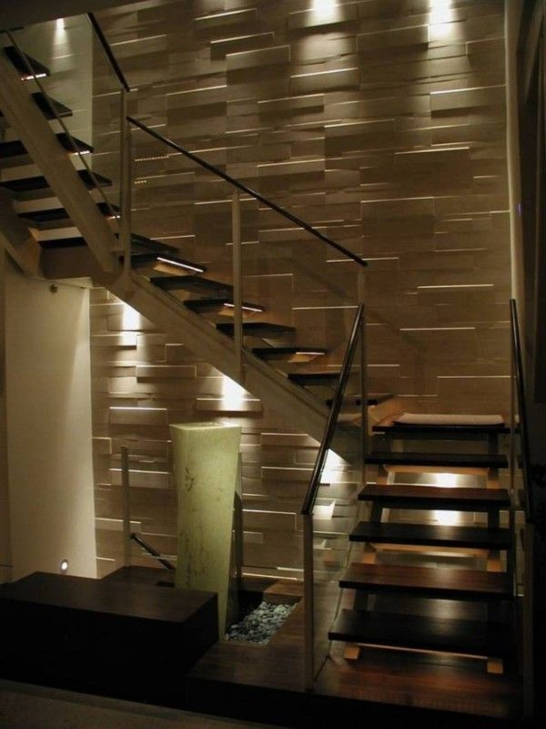 Decorative interior wall cladding going up the stair way very effective for the home for Interior wall wood cladding ideas