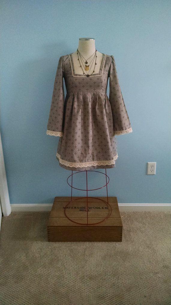 Boho babydoll dress, short, boho clothing, empire waist, grunge, mori girl, hippie, gypsy, 1970 on Etsy, $58.00