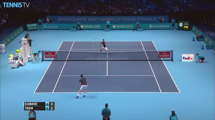 Dominic Thiem rips a forehand past a diving Novak Djokovic at the Barclays ATP World Tour Finals in London on Sunday. Watch live tennis at tennistv.com.