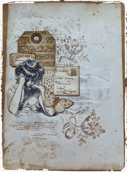 Live The Dream : Jennie Monochrome Mixed Media Art Journal Page