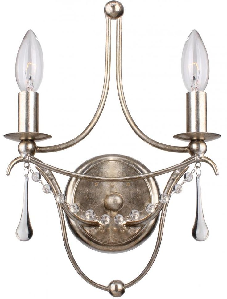Two Light Antique Silver Wall Light by Crystorama. #silver #sconce #crystal #  sc 1 st  Pinterest & 175 best Haroldu0027s Lighting images on Pinterest   Home lighting ... azcodes.com