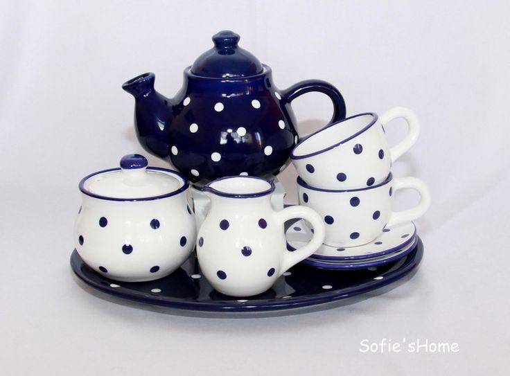 Geschirr- & Porzellan-Sets - Keramik gepunktete blaue Kaffeeservice handmade - ein Designerstück von SofiesHome bei DaWanda