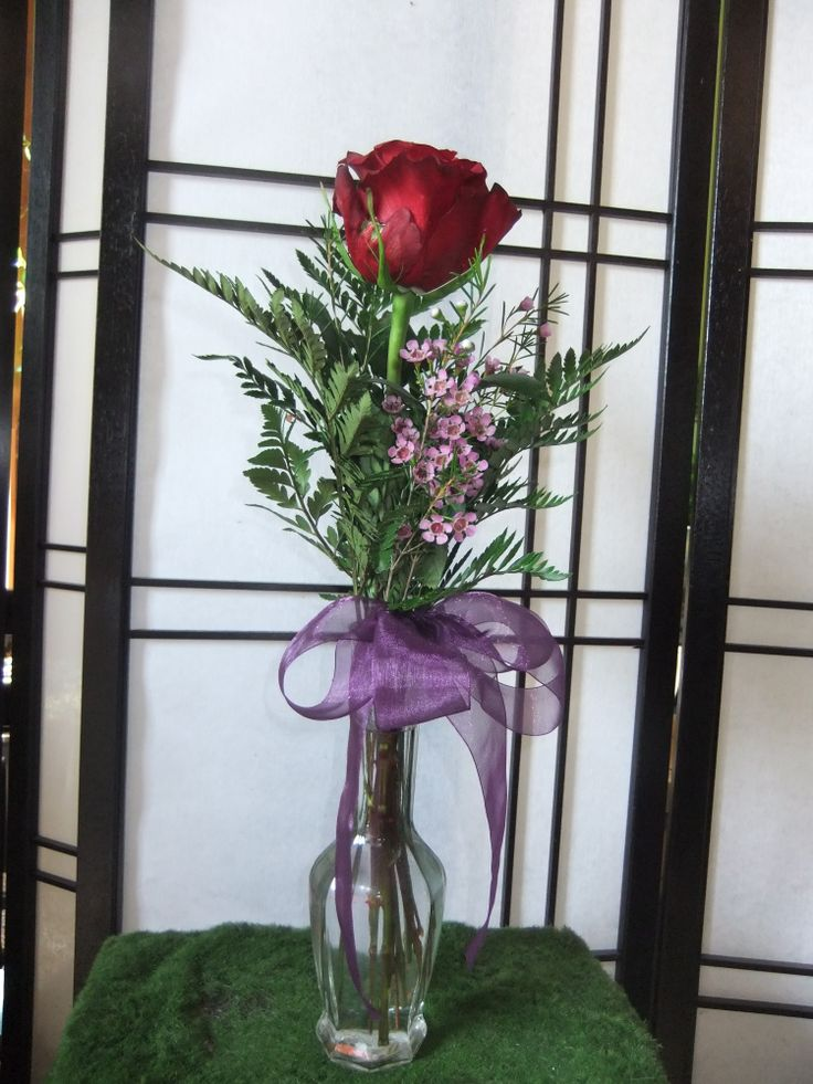 Red Love, single red rose with pink waxflower & leather in a budvase
