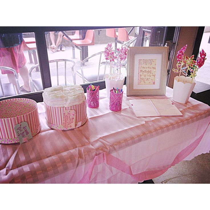 Its a girl.  Baby shower.  Guest book.