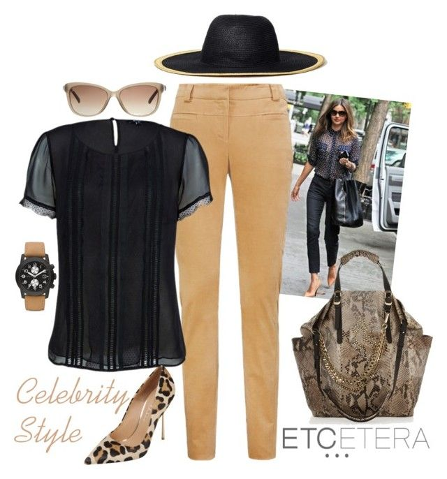 """""""Etcetera: Celebrity style with Temptress sheer black blouse and Elk camel velveteen pant."""" by etcetera-nyc ❤ liked on Polyvore featuring Kerr®, Etcetera, Gucci, Marc by Marc Jacobs, Jimmy Choo, Kurt Geiger, CelebrityStyle, fall2014 and sheerblackblouse"""