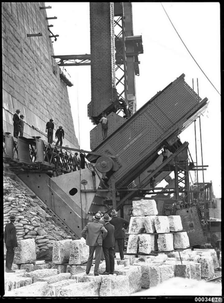 Positioning of a main bearing for the Sydney Harbour Bridge (year unknown).Photo from Australian National Maritime Museum.A♥W
