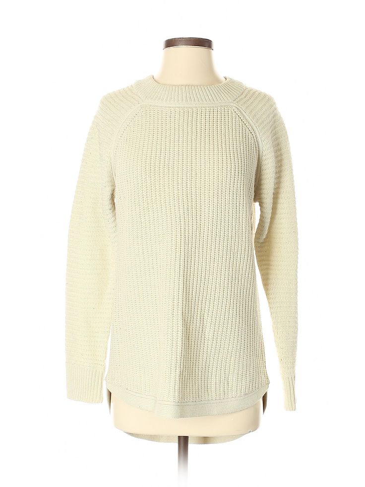 RDI Pullover Sweater Petite: Beige Solid Crew Neck Women's Tops – Size Small