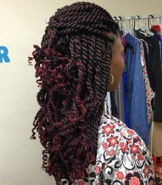 Brown Kinky Twists With Burgundy Highlights