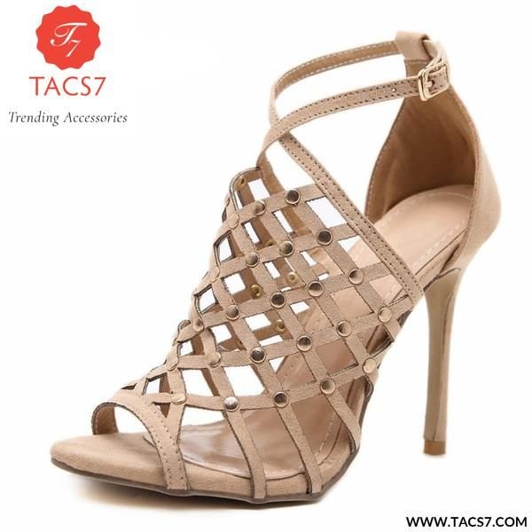 6b6860862e1 Pumps Shoes Woman High Heels Peep Toe Summer Buckle Strap Thin Rivets Party  Trending Accessories