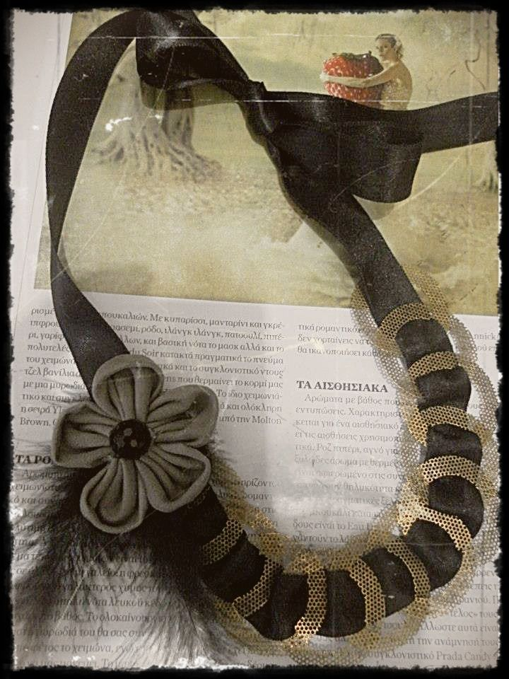 necklace feather,ribbon,fabric