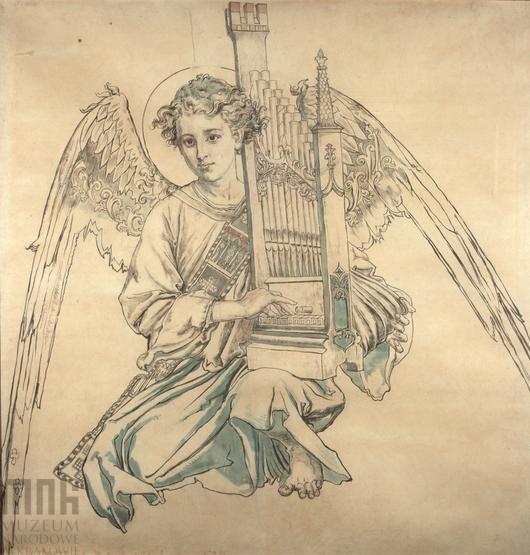 Karton do polichromii Kościoła Mariackiego - Postać anioła grającego na organach