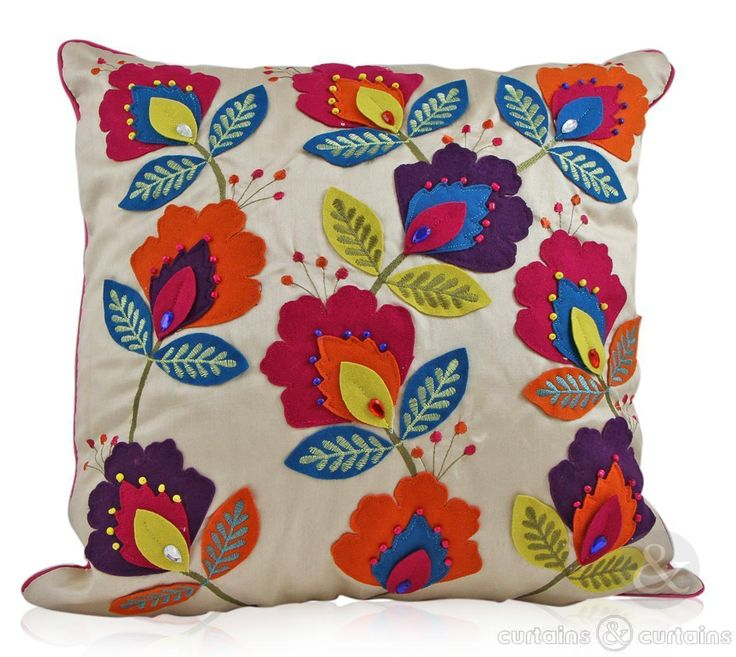 Hand made floral felt & faux silk embroidered cushion. Available in two sizes.