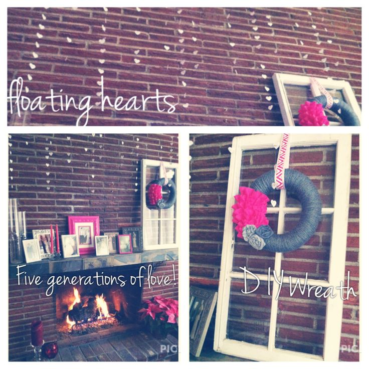 Valentines Mantle :: generational photos, DIY floating hearts, DIY wreath, DIY thrift shop frames, holiday poinsettia
