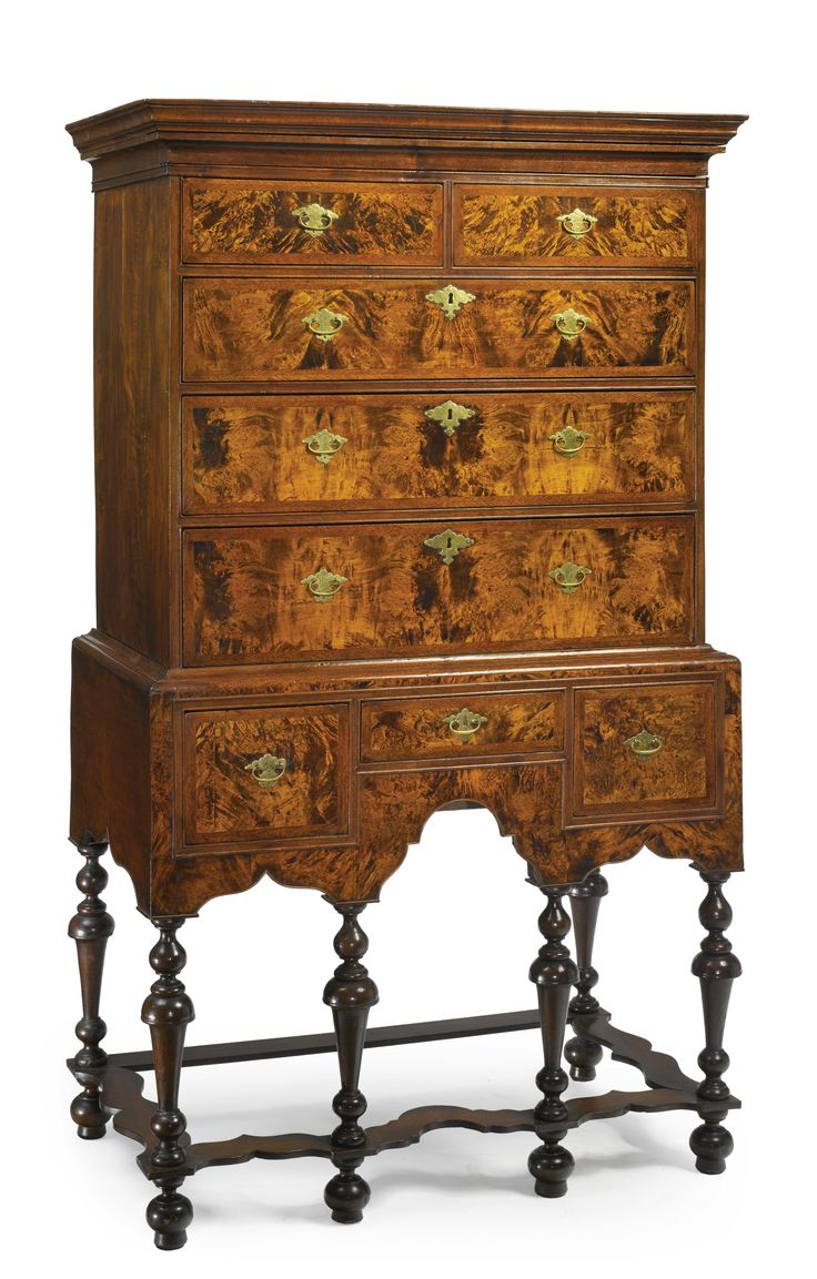 William and Mary figured maple and burled walnut high chest of drawers,  Boston, Massachusetts, circa 1725 - Height 64 in. by Width 37 in. by Depth  20 in. - 799 Best Antique Furnitures Images On Pinterest Classic