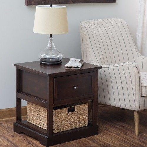Side End Table Furniture With Drawer Shelf Storage Basket Bedroom Nightstand #BelhamLiving #Traditional
