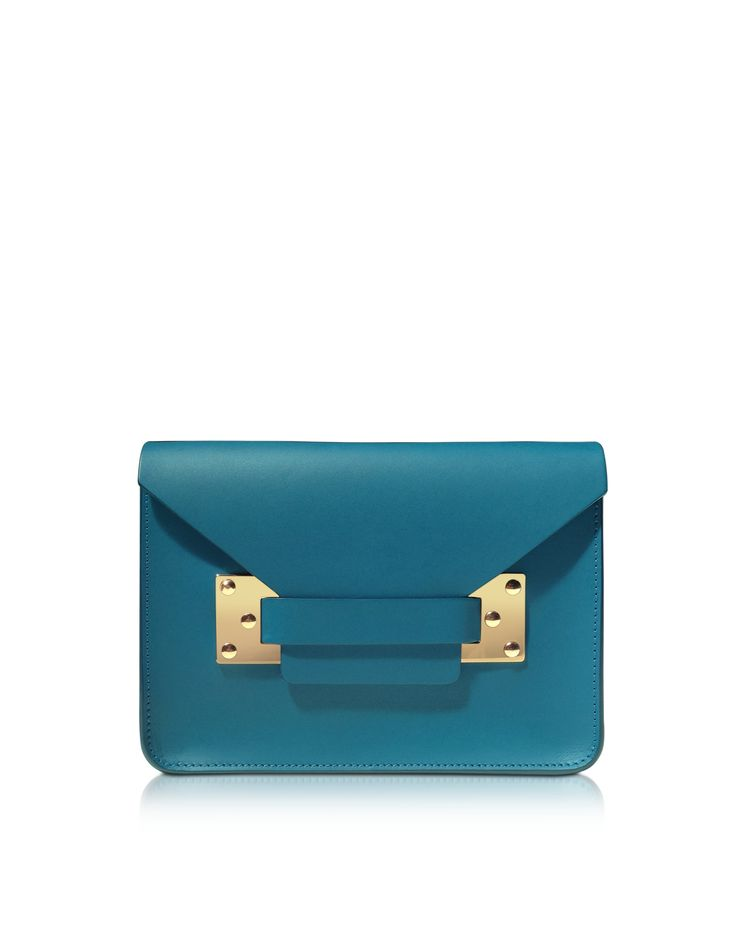 Sophie Hulme Teal Blue Mini Leather Envelope Shoulder Bag at FORZIERI