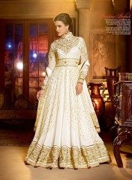 Attractive White Color Heavy Bridal Anarkali Suit