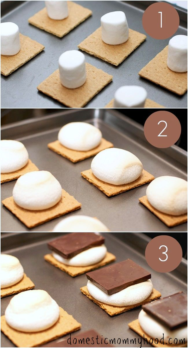 "How to Make S'mores In the Oven. Including some tips on having a ""camping night inside"" #smores #funwithkids #camping"