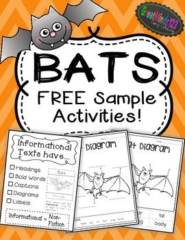 Included are a FREE informational text anchor chart, a cut and glue bat diagram and a fill-in the blank bat diagram. Below is information on the FULL bat unit. To purchase the full unit, go to:Visit Bats Common Core Non-Fiction Unit FULL Bat Unit Includes:(27 Pages Total)Non-Fiction Bat Book:8 page non-fiction bat book (printable for each student or class book)Common Core aligned questions (to be used with the book)Answer SheetLesson PlanInformational Text Anchor ChartInformational…