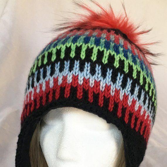 ee06b4ee0 Beautiful black hand knit colorful earflap fair isle hat unisex hand ...
