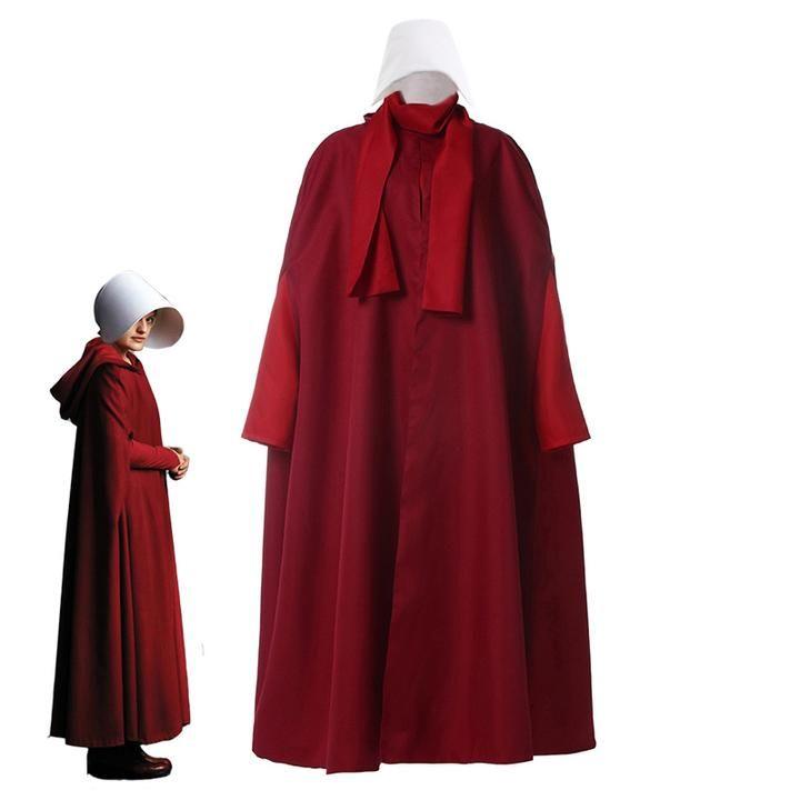 The Handmaid/'s Tale Cosplay Costume Halloween Red Long Dress Coat Custom Made