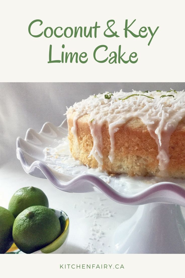Coconut & Key Lime Cake packed with shredded coconut, coconut milk, lime infusion, zesty lime glaze and sprinkled with even more coconut! Sweet, sticky & scrumptious.