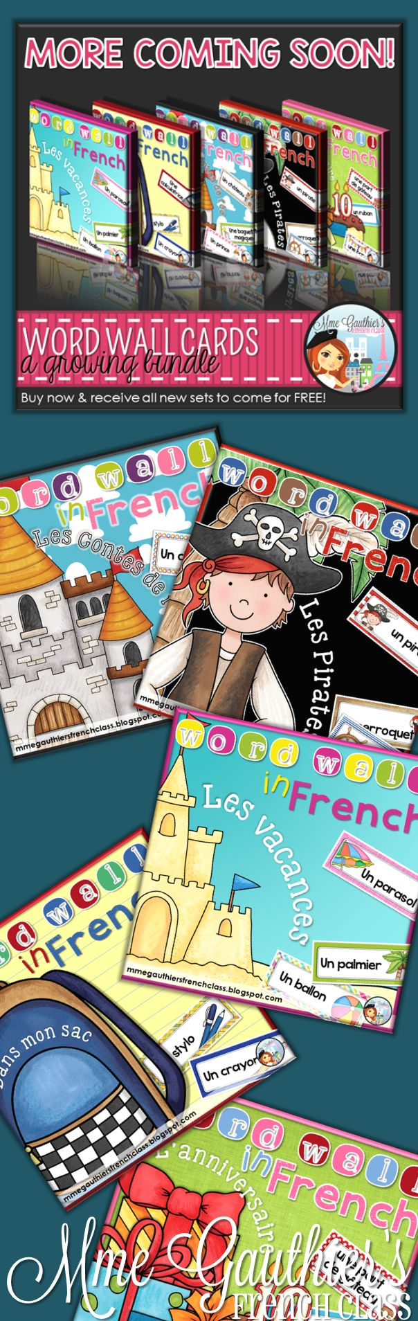 French Word Wall Growing Bundle | Already 93 pages & more still to come! Themes so far included: Fairytales, Pirates, Vacation, Back to School and Birthdays