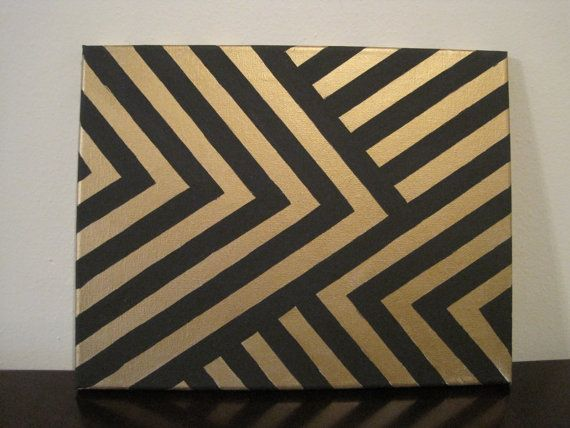 black and gold chevron canvas painting $18