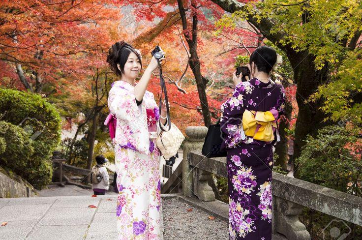 Beautiful Young Japanese Women On Kimono Take A Photo In ...