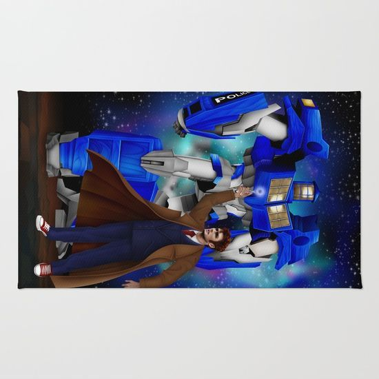 10th Doctor who with Giant retro Robot Phone Box RUG #rug #painting #watercolor #ink #illustration #digitalpainting #comic #vintage #tardisdoctorwho #tardis #doctorwho #davidtennant #publiccallbox #phonebox #transformers #optimusprime #timelord #badwolf