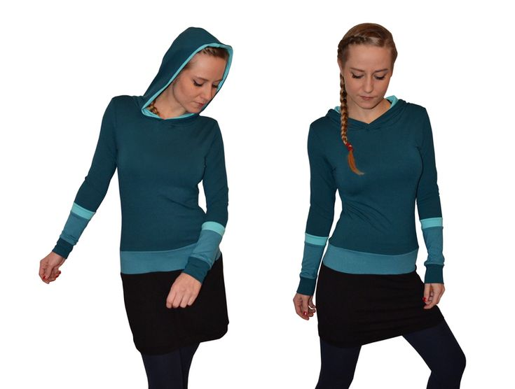 Kapuzenkleider - Kapuzenkleid Jersey petrol türkis schwarz - ein Designerstück von JAQUEEN-handmade-streetwear-berlin bei DaWanda