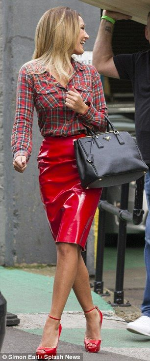Saucy: Sam Faiers looked elated to be at the studios and to talk about her relationship with Joey
