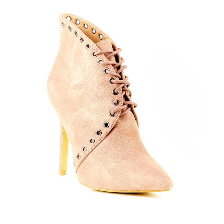 Nude Suede High Heeled Ankle Boot by Miss Black Footwear.