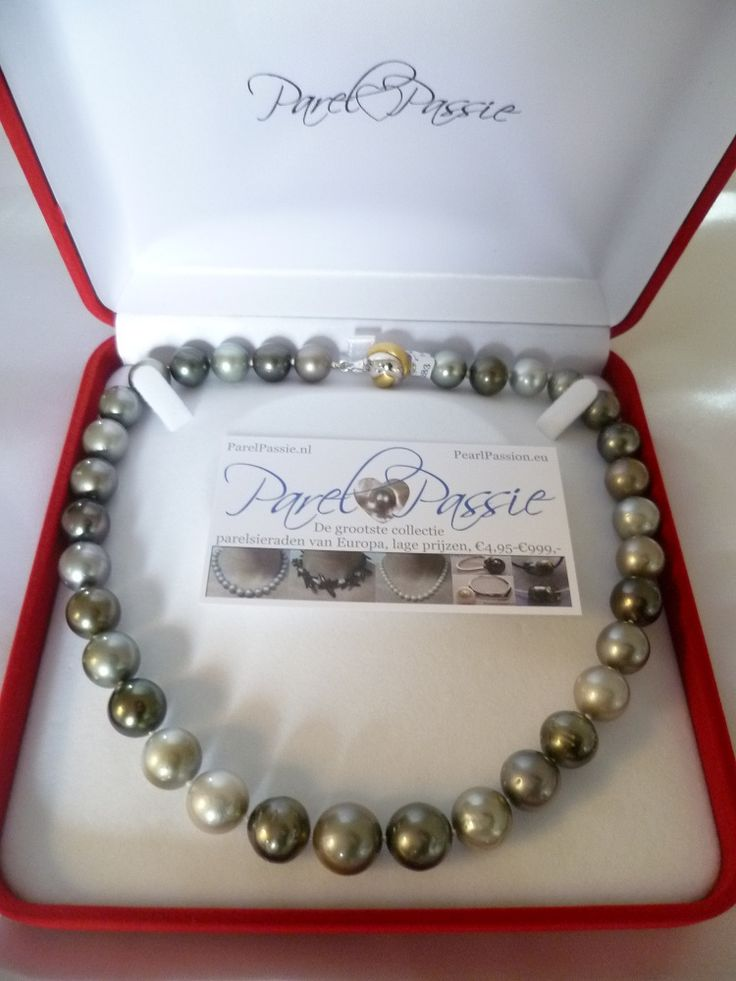 Tahiti parelcollier zeer grote echte zoutwater parels in de kleuren zwart, grijs wit. Met groot zilveren slot. De parels komen uit Frans Polynesië. Heb je zoiets bij je juwelier zien liggen voor ca €4000.  Onder de €1000,- te koop bij ParelPassie.nl