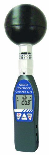 Reed 8778 Heat Stress Meter by Reed. $184.10. Wet bulb globe temperature (WBGT) considers the effects of temperature, humidity and direct or radiant sunlight. Heat stress index measures how hot it feels when humidity is combined with temperature, air movement and radiant heat. Black globe temperature (TG) monitors the effects of direct solar radiation on an exposed surface. In/out function displays the WBGT value with or without direct sun exposure. User adjustable WBGT thres...