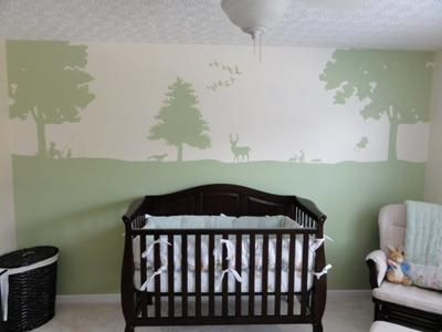 Mallard ducks, whitetail deer and forest animals theme baby nursery wall mural stencil design