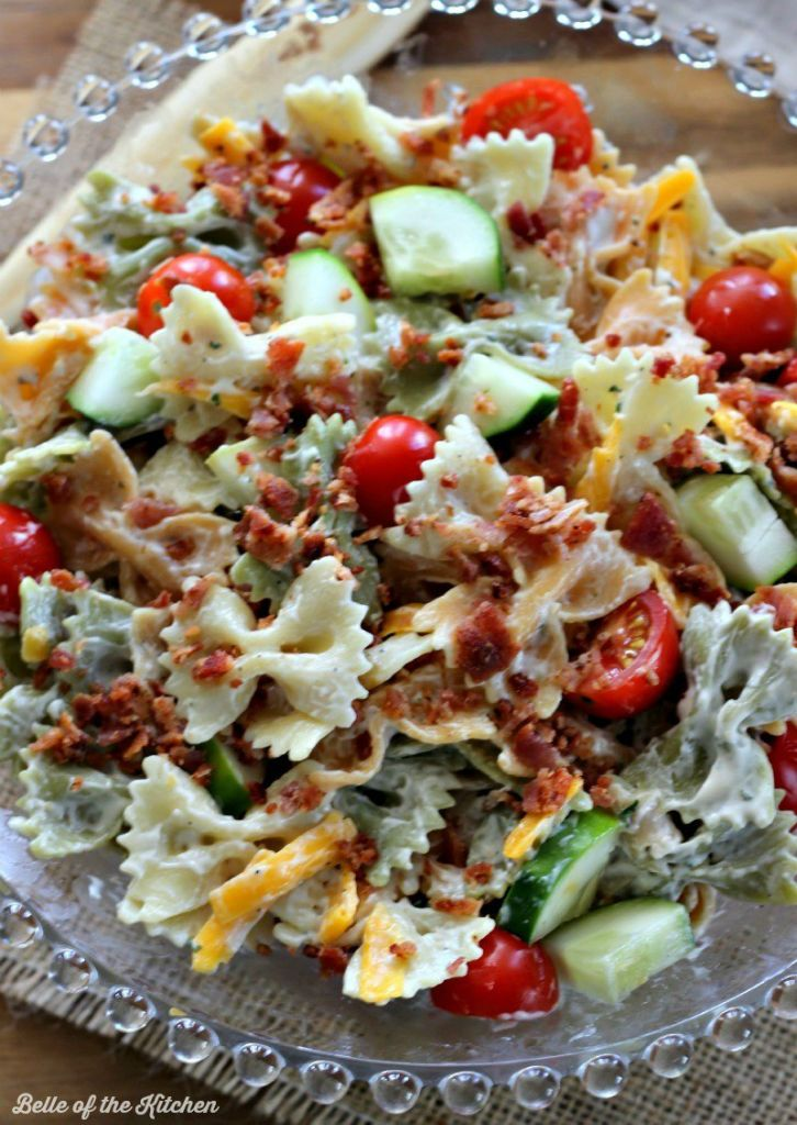 This Bacon Ranch Pasta Salad is the perfect side dish for barbecues and summer get-togethers. It's fresh, yummy, and always a crowd pleaser!
