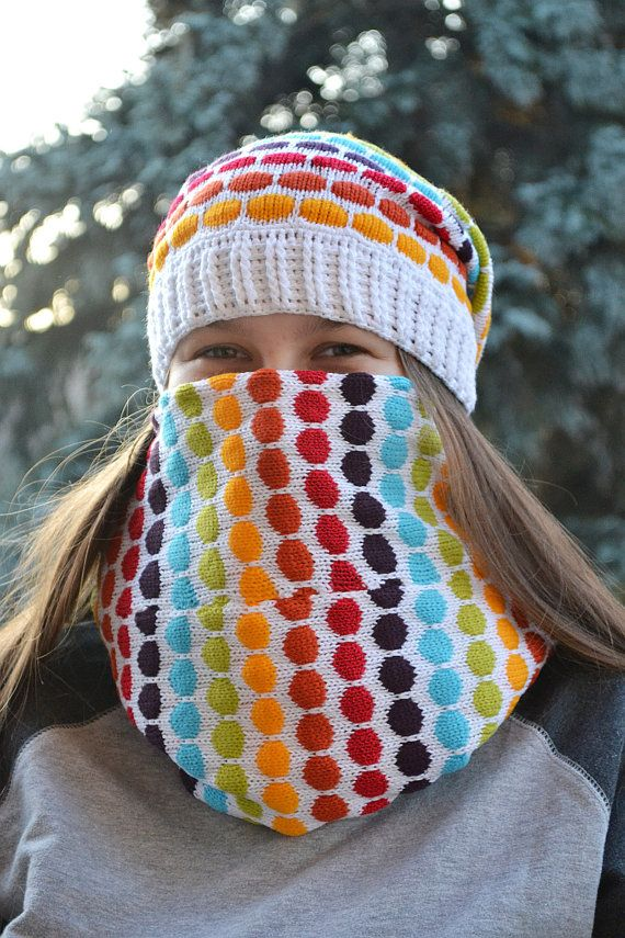 Knitted  Hat & Scarf loop white and rainbow beanie by DosiakStyle