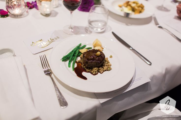 Beef fillet with farro, green beans and roast rosemary potatoes
