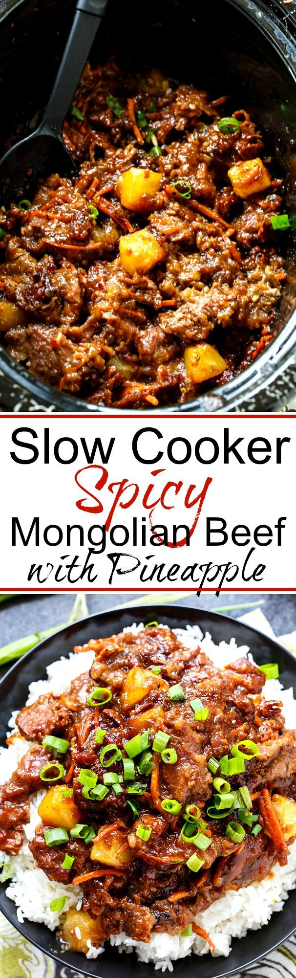 Slow Cooker Spicy Mongolian Beef with Pineapple