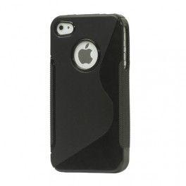 Musta silikoni iPhone 4 suojakuori.